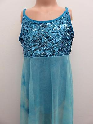 Dance Costume Large Child Blue Sequin Lyrical  Ballet Solo Competition Pageant