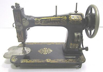 Vintage White Rotary Treadle Table Sewing Machine Patent 1911 Serial FR2251687