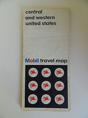 Vintage Copyright 1966 Central and Western United States Mobil Travel Map