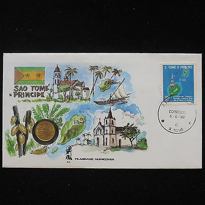 ZS-AA046 SAO TOME & PRINCIPE - Numisbrief, 1992 Fdc, Maps, Geography Cover
