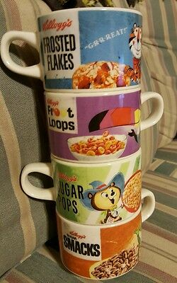 Vintage Kelloggs Stackable Mugs Bowls (4) Cereal Froot Loops Frosted Flakes More