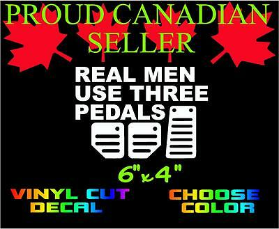 Real Men Use 3 Pedals Vinyl Decal Choose Color Funny Bumper Sticker Jdm Jeep