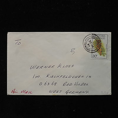 ZS-AC018 TRINIDAD & TOBAGO IND - Flowers, 1984 Airmail To Bad Vilbel Cover