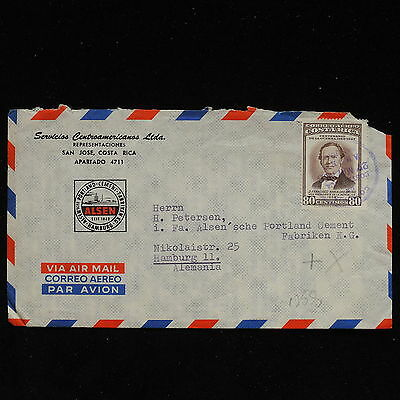 ZS-AC107 COSTA RICA - Airmail, 1958 To Hamburg Germany Cover