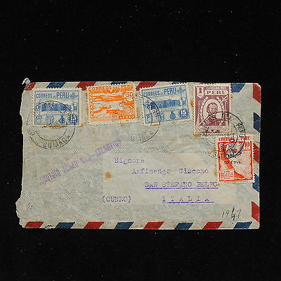 ZS-AC142 PERU - Airmail, 1947 To San Stefano Belbo Cuneo Italy Cover