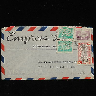 ZS-AC163 BOLIVIA - Airmail, 1950 From Cochabamba To Decatur Usa Cover