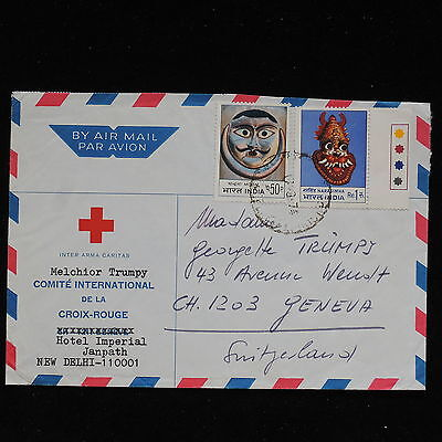 ZS-AC199 INDIA IND - Red Cross, From New Delhi To Geneva Switzerland Cover