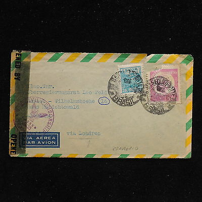 ZS-AC228 BRAZIL - Censored, Airmail To Germany Via London Cover