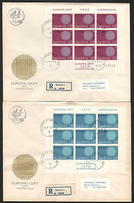 ZS-J642 YUGOSLAVIA - Europa Cept, 1970 Complete Sheet On Fdc To Italy Covers