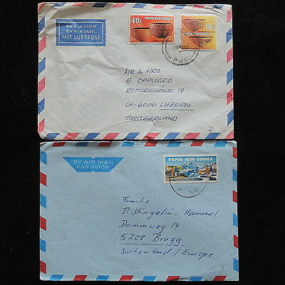 ZS-O130 PAPUA NEW GUINEA IND - Covers, 2 Great Franking To Switzerland