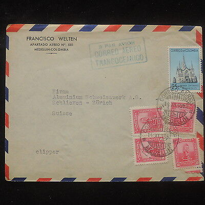 ZS-O805 COLOMBIA - Cover, Correo Transoceanico Airmail 1952