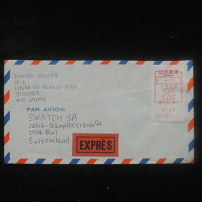 ZS-O838 JAPAN - Austria, Red Stamps To Swatch, Watch 1992 Cover