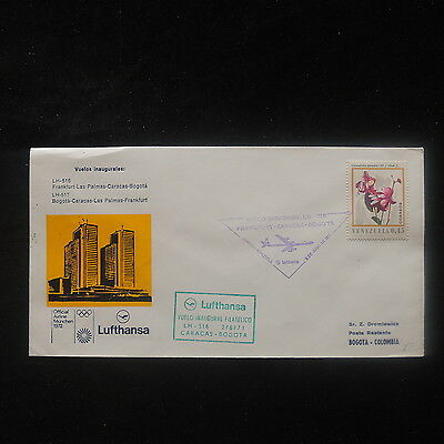 ZS-P033 VENEZUELA - Lufthansa, First Flight Caracas-Bogota Colombia 1971 Cover