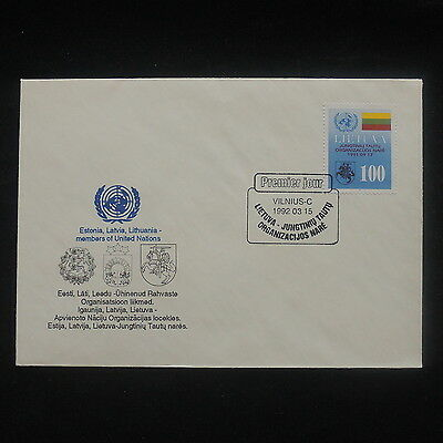 ZS-P273 LITHUANIA - United Nations, 1992 Fdc, Estonia Great Franking Cover