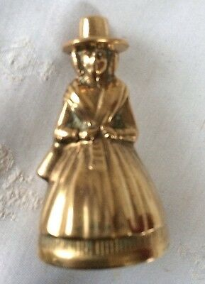 BRASS BELL,OLD VINTAGE Welsh LADY HEAVY BRASS BELL,7 Cm TALL,WITH CLANGER