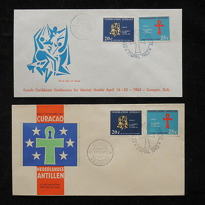 ZS-Q422 CURACAO - Fdc, Caribbean Conference Mental Health, 2 Covers