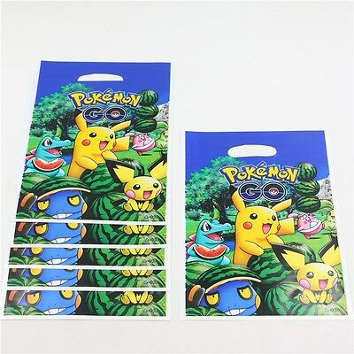 10 Pokemon Party Cellophane  Loot Bags Colour Gift Sweet Treat Birthday Uk