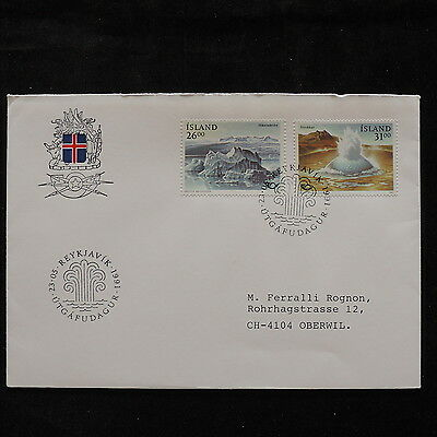 ZS-R444 ICELAND - Fdc, 1990 Nature, Islands, Views To Switzerland Cover
