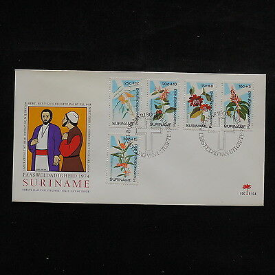 ZS-R651 SURINAME IND - Flowers, 1974 Fdc, Paasweldadigheid Cover