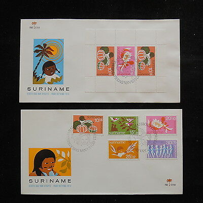 ZS-R825 SURINAME IND - Fruits, 1974 Fdc, Perf. Sheet Lot Of 2 Covers