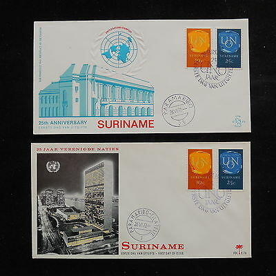 ZS-R833 SURINAME IND - United Nations, 1970 Fdc, Buildings, Lot Of 2 Covers