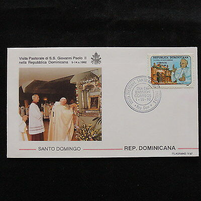 ZS-S065 DOMINICAN REP. - John Paul II, Visit To S. Domingo 1992, Fdc Cover