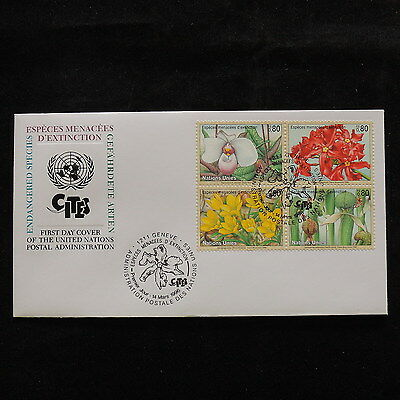 ZS-S187 FLOWERS - United Nations, Block Of 4, 1996, Fdc, Great Franking Cover
