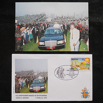ZS-S509 UGANDA IND - John Paul II, Visit To Kasese, W/Photo, 1993 Fdc Cover