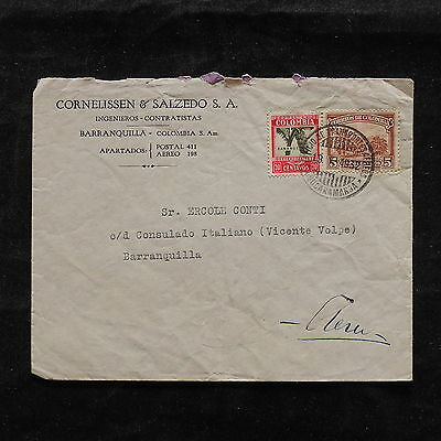 ZS-T833 COLOMBIA - Cover, 1932 Great Franking To Barranquilla 1932