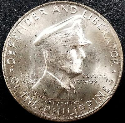 1947 S General MacArthur Commemorative Philippines 50 Centavos Silver coin!