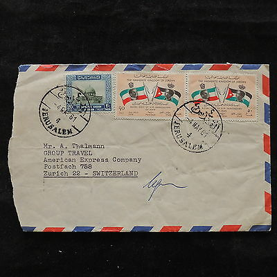 ZS-U513 JORDAN - Flags, 1961 Airmail To Switzerland Cover