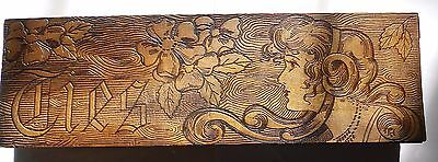 Antique Pyrography Carved Wood Tie Box Pretty Woman.