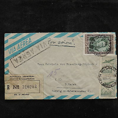 ZS-U726 ARGENTINA - Aviation, 1950, Registered, Great Airmail Cover