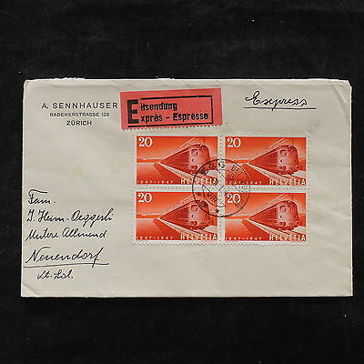 ZS-U883 TRAINS - Switzerland, 1948 Airmail, Block Of 4, Great Franking Cover