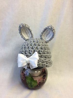 Baby, Photo Prop, Easter, Crochet Knit, Grey Bunny Hat + White Bow. Newborn Size