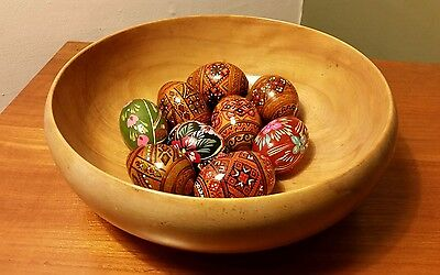 """Lot of 9 European Handmade Highly Detailed Decorative 2.5"""" Wooden Eggs"""