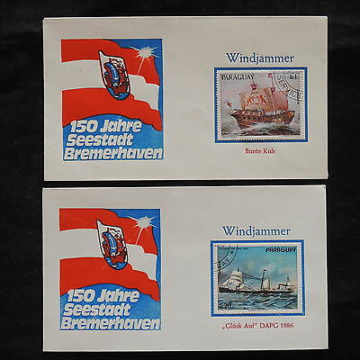 ZS-V266 SHIPS - Paraguay, Flags, Great Franking, Lot Of 2 Covers