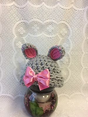 Baby, Photo Prop, Easter, Gift, Crochet Grey Bunny Hat + Pink Bow. Newborn Size