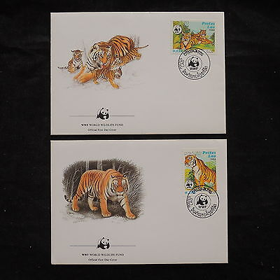 ZS-V334 WWF - Laos, 1984 Fdc, Great Franking, Lot Of 2 Covers