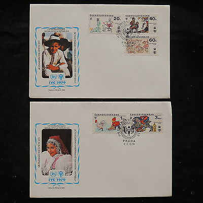 ZS-V345 IYC - Czechoslovakia, 1979 Fdc, Great Franking, Lot Of 2 Covers