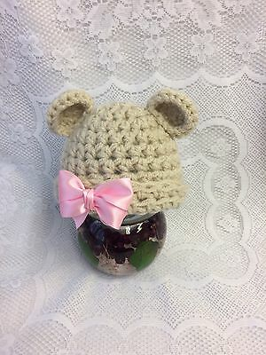 Baby, Photo Prop, Crochet Knit Bear Hat + Pink Bow Newborn Size
