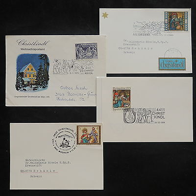 ZS-V846 CHRISTMAS - Austria, Fdc, Great Lot Of 4 Airmail, Religion Covers