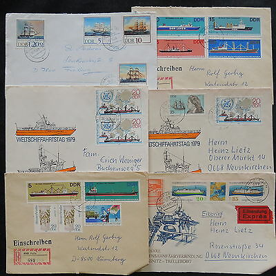 ZS-W004 SHIPS - Germany/Ddr, 1979 Fdc Registered Great Franking, Lot Of 6 Covers