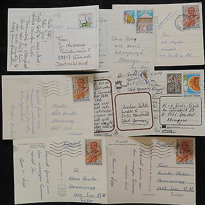 ZS-W688 TUNISIA IND - Airmail, Great Franking To Germany, Lot Of 8 Postcards