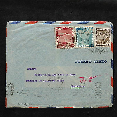 ZS-W951 CHILE - Cover, Airplanes, Airmail To France