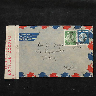 ZS-X002 ISRAEL - Censored, Coins, Great Airmail To Italy Cover