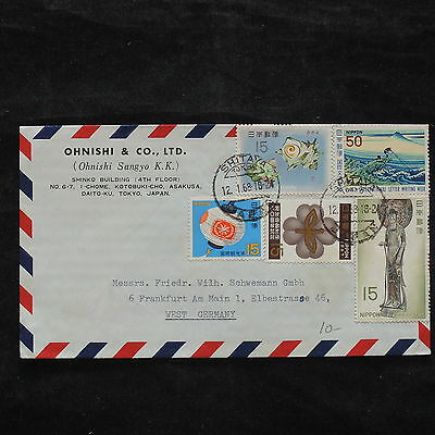ZS-X244 JAPAN - Cover, 1968, Airmail To West Germany, Shell