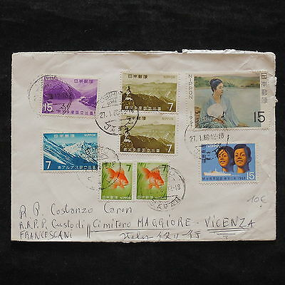 ZS-X248 JAPAN - Cover, 1966, Fish, Mountains, Paintings, To Italy