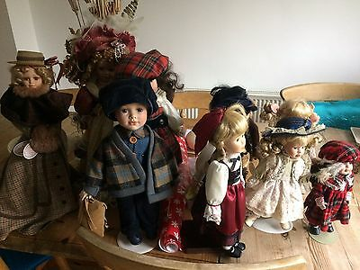 Porcelain dolls [a collection of] retro collectors dolls
