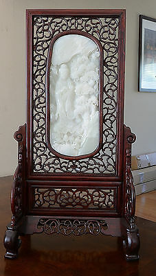 Very  Nice  Hand  Carved  Chinese  White  Jade  Table  Ornament
